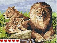 Картина по номерам Семья львов (цветной холст) 40*50см Барви Розпис по номерах