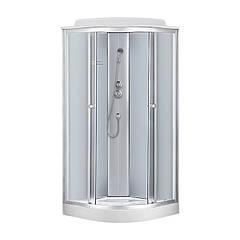 Гидробокс 90*90*215 Fabio мелкий поддон (15см), без гидромассажной панели!!! стекло белое, двери fabric