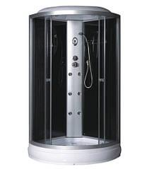 Гидробокс 90*90*215 Fabio мелкий поддон (15см),с электроникой, стекло черное, двери Grey