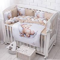 Комплект постельного белья из сатина Asik со спящим мишкой на месяце бежевого цвета (3 бортика и коса) №391