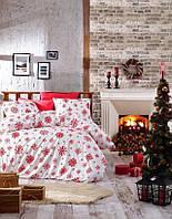 Комплект постельного белья фланель Snow red Belizza Евро размер