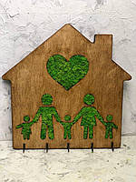 """Деревянная ключница """"Домик"""" 20х21 см со стабилизированным мхом Оригинальный подарок Декор украшение для дома"""