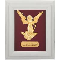 """Настінна ключниця """"Ангел Хранитель"""" мідь, золото, натуральне дерево 33*27 см, фото 1"""