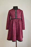 Детское повседневное платье на девочку 10-11 лет, 146 размер, бордового цвета, фото 1