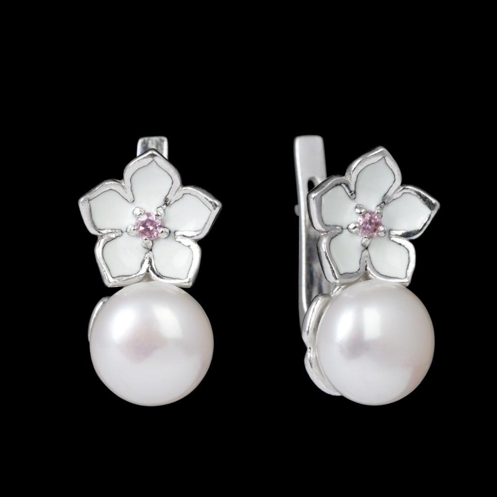 Срібні сережки з перлами і білою жіночі з рожевими цирконами англійська застібка