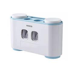 Диспенсер механический  ECOCO E1802 Blue для зубной пасты держатель зубных щеток