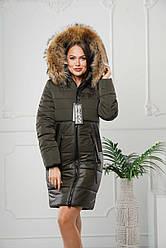 Женская зимняя удлиненная куртка с мехом енота