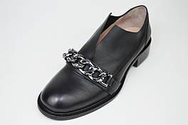 Туфли женские с цепью Lottini 54120 Черные кожа