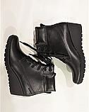 Ботинки женские кожаные черные на танкетке 144017, фото 5