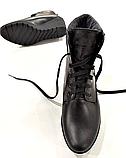Ботинки женские кожаные черные на танкетке 144017, фото 4