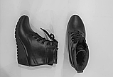 Ботинки женские кожаные черные на танкетке 144017, фото 8
