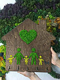 """Деревянная ключница """"Домик"""" 40х41 см со стабилизированным мхом Оригинальный подарок Декор украшение для дома, фото 7"""