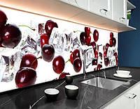 Кухонная панель на фартук заменитель стекла черешни, лед, вишни, ягоды, 3D ПЭТ панель 62 х 205 см (ed574-5)