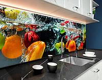 Фартук для кухни фрукты и овощи в воде, аквариум, 3D ПЭТ панель 62 х 205 см (ed576-5)