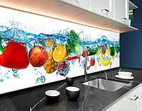 Кухонная панель на фартук с фотопечатью фрукты, овощи в воде, аквариум, 3D ПЭТ панель 62 х 205 см (ed584-5)