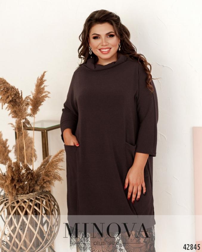 Комфортное минималистичное платье батал, двухслойное Размеры: 48-52 универсал