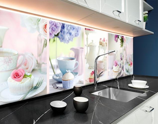 Скинали с фотоизображением чаепитие, чай с молоком, кексы, завтрак ПВХ панель 62 х 205 см (ed600-5)