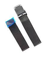 Ремешок для часов Миланская петля крупное плетение 22 мм черный