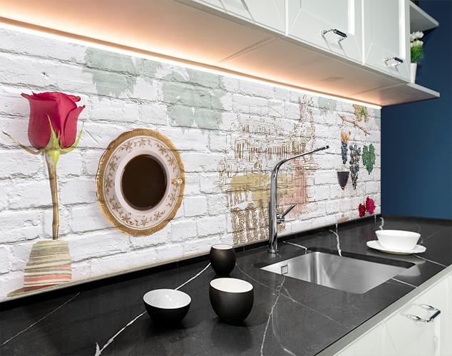 Кухонный фартук рисунок на кирпичной стене, Италия, Рим, Париж ПВХ панель 62 х 205 см (ed616-5)