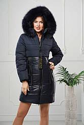 Женская зимняя удлиненная куртка с мехом песца