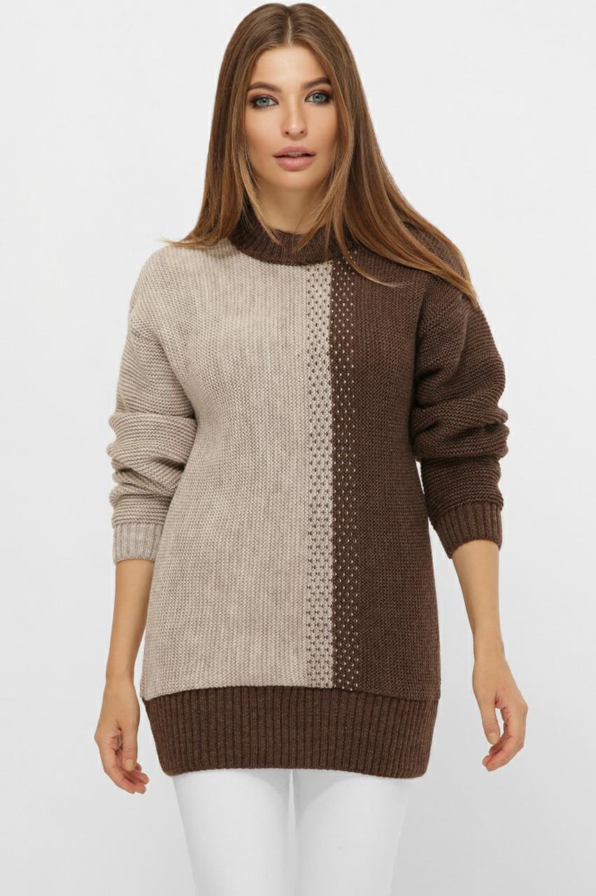 Свитер вязаный over size для девушек размер 44-50 цвет коричнево-бежевый