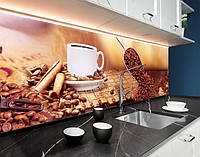Кухонная панель на фартук кофейные зерна, кофе, корица, бежевый фон ПЭТ панель 62 х 205 см (ed638-5)