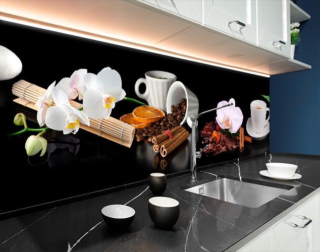 Кухонная панель на скинали капучино, орхидеи, специи, черный фон 62 х 205 см (fl11725-5)