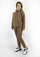 Стильный утепленный женский спортивный костюм цвета мокко с капюшоном XL, XXL, 3XL, фото 1