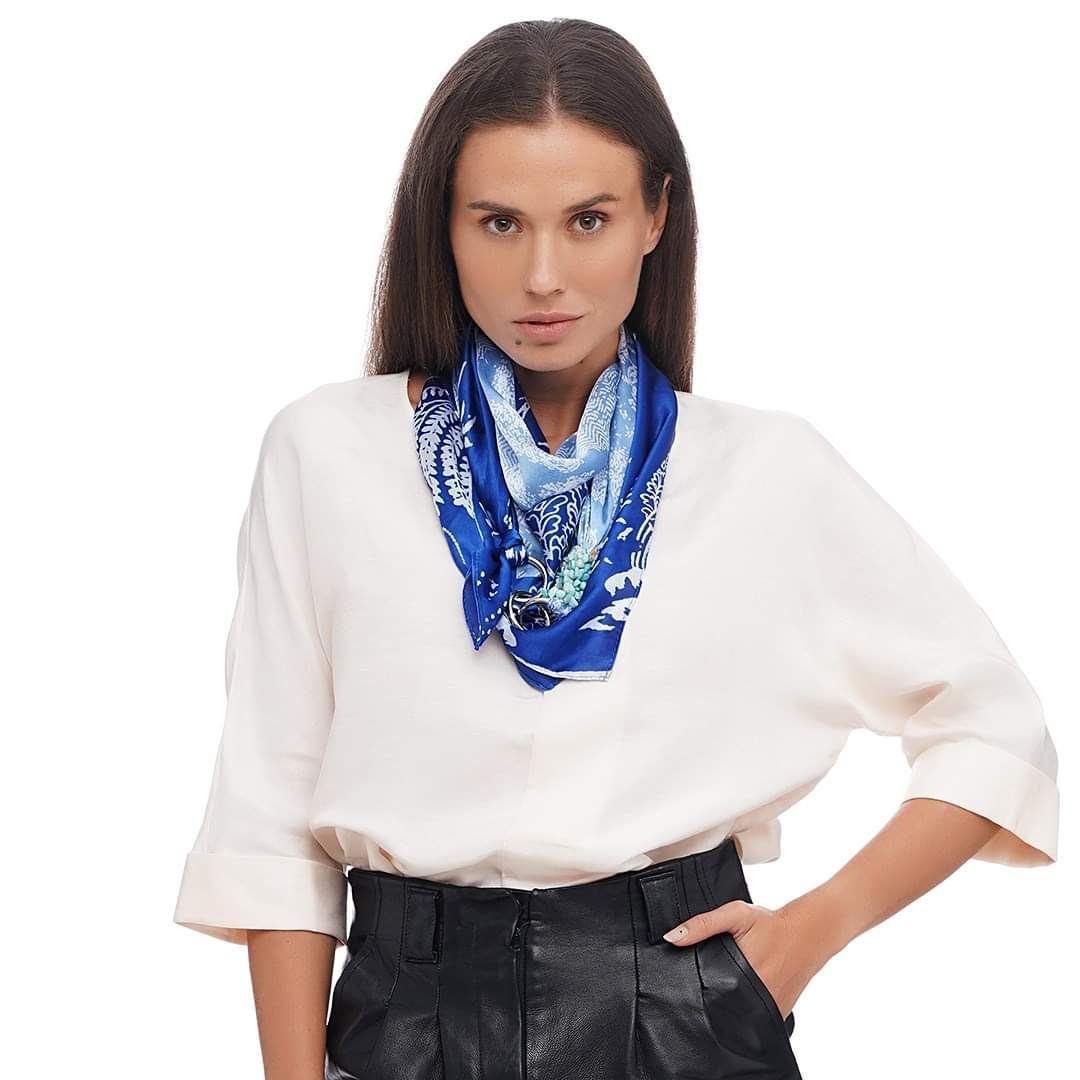 """Шелковый платок от бренда my scarf """"Голубая лагуна"""", шейный платок, подарок женщине"""