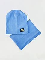 Дитяча шапка з хомутом хб 52-54 розмір колір блакитний
