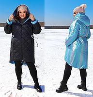 Зимова двостороння куртка жіноча великого розміру, з 48-68 розмір