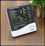 Термометр гигрометр с часами и будильником HTC-1 батарейка в комплекте