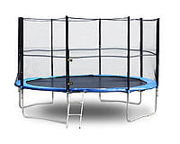 Батут с сеткой защитной для детей и взрослых с лестницей WorldSport 365 см 12 ft футов Черный (LG12-365)