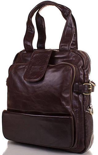 Мужская кожаная сумка-рюкзак ETERNO (ЭТЭРНО), коричневая, ET1012