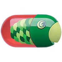 Точилка Faber-Castell, попугай двойная с контейнером + ластик 183525