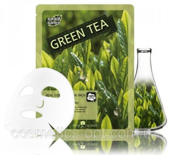 Тканевая маска для устранения покраснений с зеленым чаем May Island Real Essence Green Tea Mask Pack