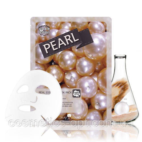 Тканинна маска для еластичності шкіри з екстрактом перлів May Island Real Essence Pearl Mask Pack
