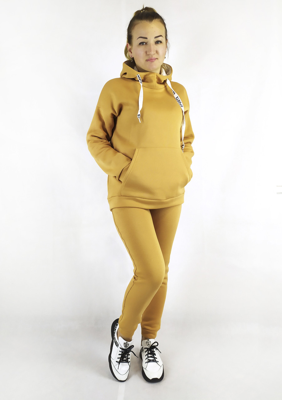 Повседневный горчичный женский спортивный костюм горчичного цвета с капюшоном S, M, L