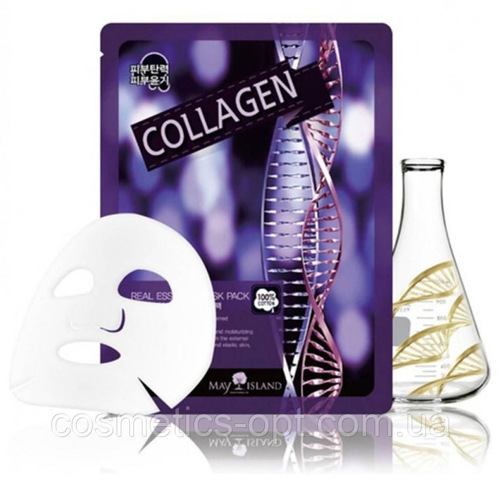 Тканевая маска для упругости кожи с коллагеном May Island Real Essence Collagen Mask Pack