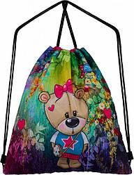 Сумка рюкзак для сменной обуви на шнурках с рисунком Мишка для девочки  Winner One М-39