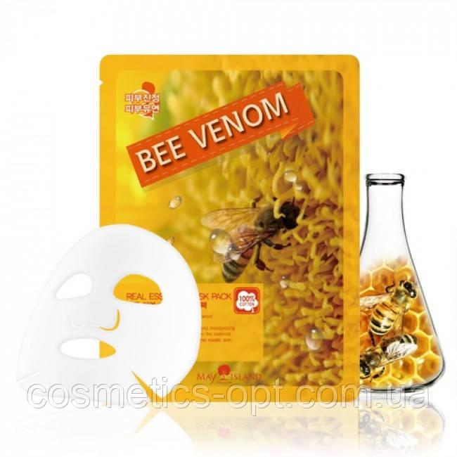 Тканевая маска для обновления кожи с пчелиным ядом May Island Real Essence Bee Venom Mask Pack