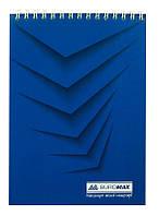 Записная книга блокнот Buromax Jobmax A5 48 л клетка на пружине синий (BM.2474-02)
