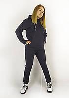 Трикотажный спортивный костюм для женщин на флисе темно-синего цвета с капюшоном под горло XL, XXL, 3XL, фото 1