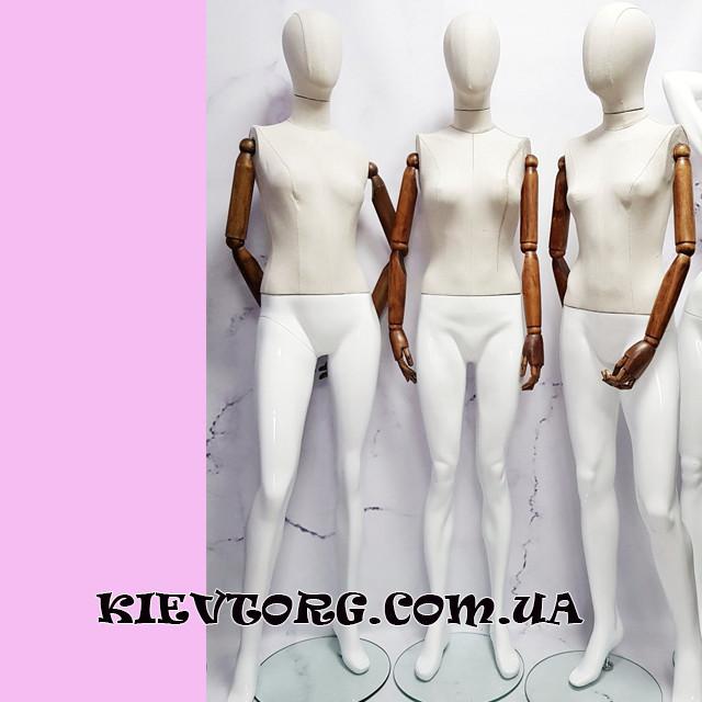 Манекен женский с деревянными руками для магазина одежды в полный рост безликий гипсовый
