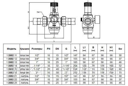 1268215 Редуктор давления Herz для холодной воды - 1 1/2, фото 2