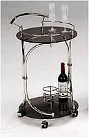 Сервировочный столик W-130 (SC-5088-WD), круглая стеклянная барная тележка