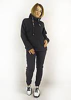 Современный женский теплый спортивный костюм в черном цвете с капюшоном и зауженными брюками S, M, L, фото 1