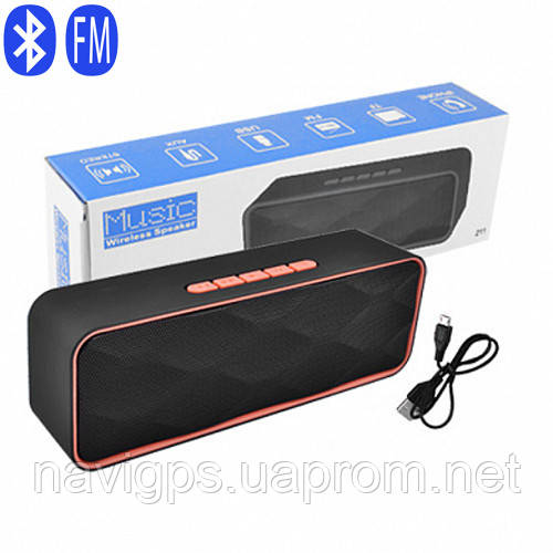 Bluetooth-колонка SC-211, c функцією speakerphone, радіо, red