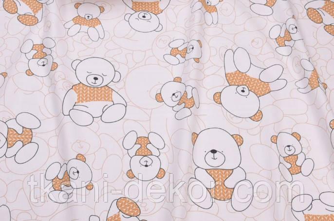 Сатин (бавовняна тканина) ведмедики з коричневою кіскою (50*160)