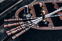 Reckless Шампур плоский, с деревянной ручкой из нержавеющей стали 730*3*12 мм,комплект из 8 шт в колчане